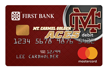 First Bank Debit Card with Mount Carmel Golden Aces Logo
