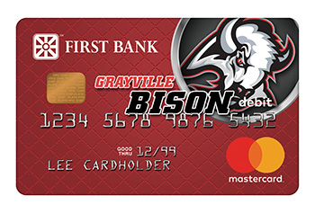 First Bank Debit Card with Grayville Bison Logo