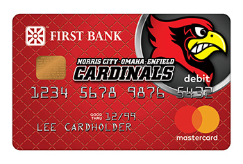First Bank Debit Card with Norris City-Omaha-Enfield Cardinals Logo