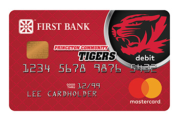 First Bank Debit Card with Princeton Community Tigers Logo