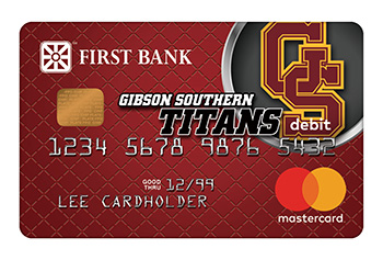 First Bank Debit Card with Gibson Southern Titans Logo